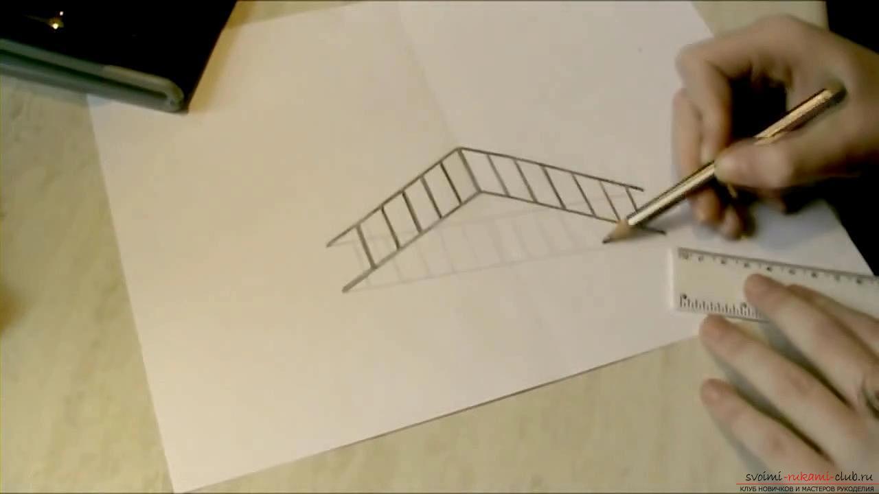 Как рисовать 3д карандашом карандаш поэтапно